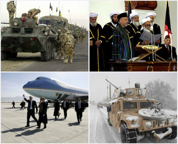 Afghanische Geschichte von 2003 bis 2008: Collage of images displaying the following, from left to right: 1. A Romanian Army TAB-77 Armored Personnel Carrier (APC) leads a convoy of multi-national vehicles from Kandahar Airfield to Kabul, the capital of Afghanistan. The purpose of the convoy is to gather information and to help with a road reconstruction project in Afghanistan during Operation ENDURING FREEDOM. (May 14, 2003, photo by Sgt. Vernell Hall) 2. Chief Justice Shinwani from the Supreme Court of Afghanistan (right) administers the Oath of Office for the Presidential Inauguration to Afghanistan President Hamid Karzai at the Presidential Palace in Kabul, Afghanistan, Dec 7, 2004. Defense Dept. (Photo by U.S. Air Force Master Sgt. James M. Bowman) 3. President George W. Bush gives the thumbs-up after Air Force One landed at Bagram Air Base near Kabul, Afghanistan Wednesday, March 1, 2006. The five-hour surprise visit included a meeting with Afghan President Karzai, a ceremonial ribbon-cutting at the U.S. Embassy, and a visit to the troops at Bagram. (Photo by Eric Draper) 4. U.S. Army Sgt. Joseph Chmielewski, from Bravo Company, Division Special Troops Battalion, Task Force Gladius, pulls security during a key leader engagement at the Jalokheyl village on main supply route Vermont in the Kapisa province of Afghanistan Feb. 5, 2008. (U.S. Army photo by Sgt. Johnny R. Aragon) - Bildquelle: https://commons.wikimedia.org/wiki/File:Afghan_history_from_2003-2008.jpg